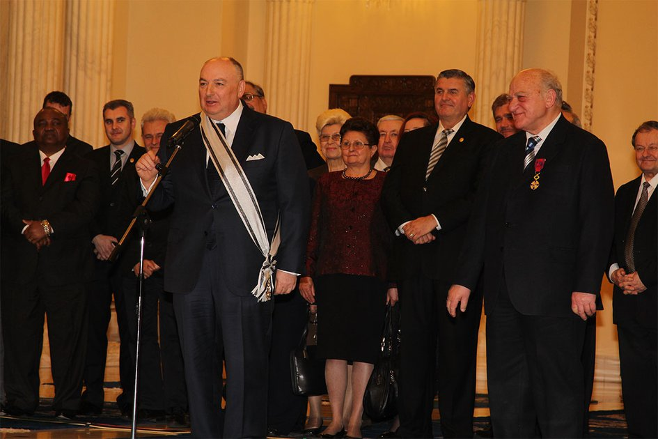 "Ceremony of Awarding EJC President Viatcheslav Kantor with the Grand Cross of the Romanian National Order ""For Merit"". Bucharest, March 11, 2014"