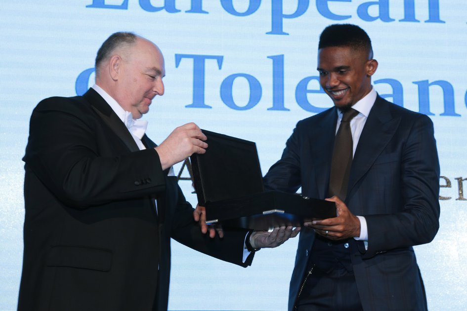 Awarding of the Football-player Samuel Eto'o and Fare Network With the European Medal of Tolerance
