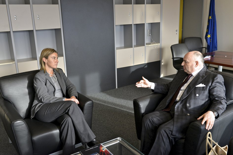 EJC President Viatcheslav Kantor Meets with the EU High Representative on Foreign Affairs and Security Policy Federica Mogherini. Strasbourg, January 14, 2015