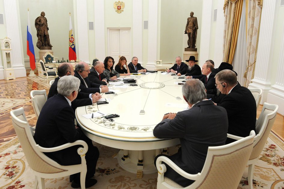European Jewish Congress Delegation Headed by the EJC President Viatcheslav Moshe Kantor Meets Russian President Vladimir Putin. Moscow