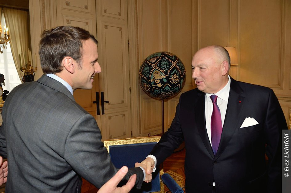 EJC Delegation Headed by EJC President Moshe Kantor Meets French President Emmanuel Macron in Paris