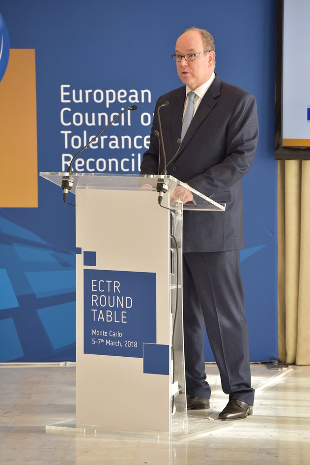 "ECTR Round Table ""Tackling Extremism And Intolerance In A Diverse Society"". Awarding Prince of Monaco Albert II with the European Medal ff Tolerance. Monte Carlo, Monaco"